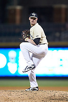 Wake Forest Demon Deacons relief pitcher Shane Muntz (11) in action against the Charlotte 49ers at BB&T BallPark on March 13, 2018 in Charlotte, North Carolina.  The 49ers defeated the Demon Deacons 13-1.  (Brian Westerholt/Four Seam Images)