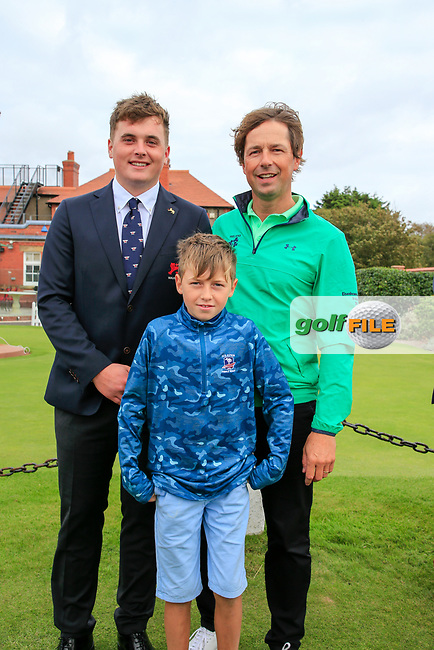 James Sugrue (GB&I) with National coach Neil Manchip and his son after the opening ceremony at the Walker Cup, Royal Liverpool Golf CLub, Hoylake, Cheshire, England. 06/09/2019.<br /> Picture Fran Caffrey / Golffile.ie<br /> <br /> All photo usage must carry mandatory copyright credit (© Golffile | Fran Caffrey)