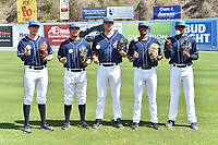 Asheville Tourists starting pitchers (L-R) Brandon Gold (18), Alejandro Requena (15), Riley Pint (32), Erick Julio (29) and Antonio Santos (10) during media day at McCormick Field on April 4, 2017 in Asheville, North Carolina. (Tony Farlow/Four Seam Images)