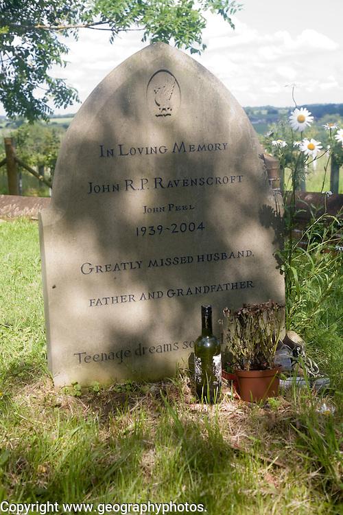Grave of DJ John Peel at Great Finborough, Suffolk, England