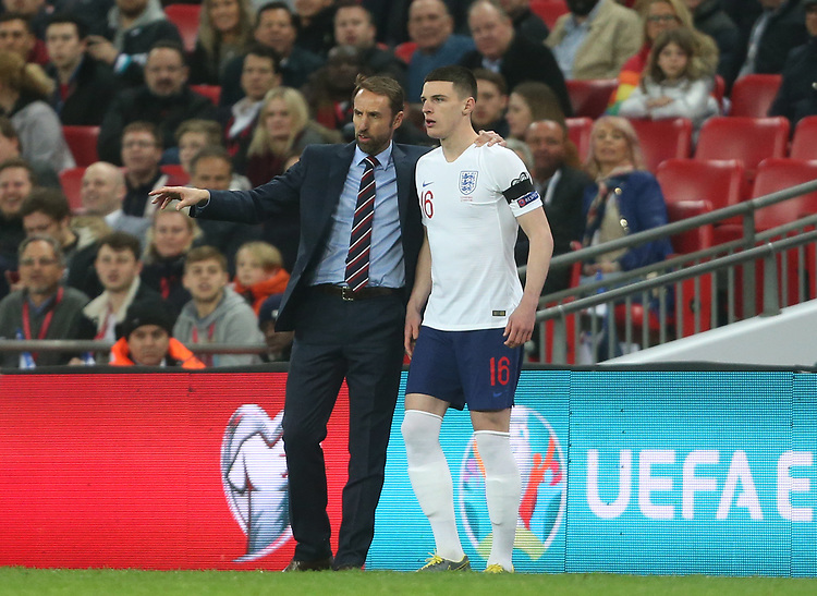 England's Coach Gareth Southgate gives instructions to Declan Rice<br /> <br /> Photographer Rob Newell/CameraSport<br /> <br /> UEFA Euro 2020 Qualifying round - Group A - England v Czech Republic - Friday 22nd March 2019 - Wembley Stadium - London<br /> <br /> World Copyright © 2019 CameraSport. All rights reserved. 43 Linden Ave. Countesthorpe. Leicester. England. LE8 5PG - Tel: +44 (0) 116 277 4147 - admin@camerasport.com - www.camerasport.com