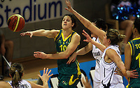 Opals guard Jessica Foley passes during the International women's basketball match between NZ Tall Ferns and Australian Opals at Te Rauparaha Stadium, Porirua, Wellington, New Zealand on Monday 31 August 2009. Photo: Dave Lintott / lintottphoto.co.nz