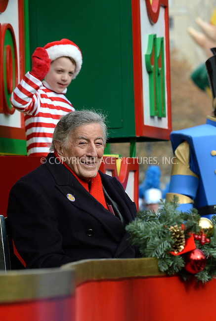 www.acepixs.com<br /> <br /> November 24 2016, New York City<br /> <br /> Singer Tony Bennett made an appearance at the 90th Annual Macy's Thanksgiving Day Parade on November 24, 2016 in New York City.<br /> <br /> By Line: Kristin Callahan/ACE Pictures<br /> <br /> <br /> ACE Pictures Inc<br /> Tel: 6467670430<br /> Email: info@acepixs.com<br /> www.acepixs.com