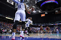 GREENSBORO, NC - MARCH 06: Azana Baines #11 of Duke University passes the ball in to Mikayla Boykin #12 during a game between Boston College and Duke at Greensboro Coliseum on March 06, 2020 in Greensboro, North Carolina.