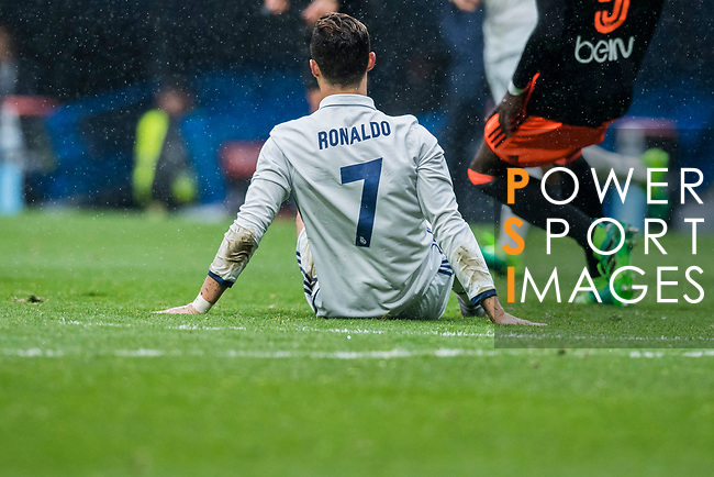 Cristiano Ronaldo of Real Madrid sits on the pitch during their La Liga match between Real Madrid and Valencia CF at the Santiago Bernabeu Stadium on 29 April 2017 in Madrid, Spain. Photo by Diego Gonzalez Souto / Power Sport Images