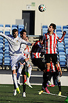 Real Madrid Castilla´s Llorente and Athletic Club B's Magdaleno during 2014-15 Spanish Second Division match between Real Madrid Castilla and Athletic Club B at Alfredo Di Stefano stadium in Madrid, Spain. February 08, 2015. (ALTERPHOTOS/Luis Fernandez)