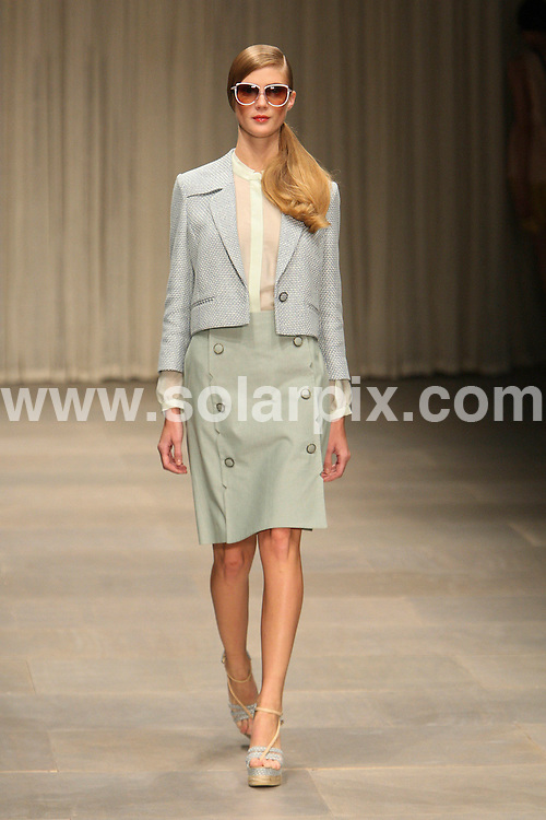 **ALL ROUND PICTURES FROM SOLARPIX.COM** **WORLDWIDE SYNDICATION RIGHTS** .London Fashion Week Jaeger Runway 2012 Summer Season at Somerset House in London on 16 September 2011.This pic:     Jaeger Runway .JOB REF:     13970     MLW     DATE: 17.09.11 .**MUST CREDIT SOLARPIX.COM OR DOUBLE FEE WILL BE CHARGED** **MUST AGREE FEE BEFORE ONLINE USAGE** **CALL US ON: +34 952 811 768 or LOW RATE FROM UK 0844 617 7637**.