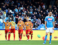9th February 2020; Stadio San Paolo, Naples, Campania, Italy; Serie A Football, Napoli versus Lecce; Gianluca Lapaula of Lecce celebrates after scoring on 61 minutes for 1-2