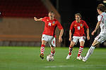 Wales's new cap Steve Morison alongside David Vaughan during the International Friendly between Wales and Luxembourg at Parc y Scarlets in LLanelli..