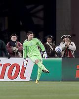 Real Salt Lake goalkeeper Kyle Reynish (24). In a Major League Soccer (MLS) match, Real Salt Lake defeated the New England Revolution, 2-0, at Gillette Stadium on April 9, 2011.