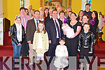 NEW ARRIVAL: Little Abbie Healy, Ventry, pictured with her parents Frank and Marilyn, big sister Katie, family and friends after her christening in St Catherine's Church, Ventry, on Sunday.