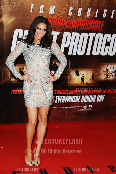 "Paula Patton arriving for the premiere of ""Mission Impossible Ghost Protocol"" at the IMAX cinema, South Bank, London. 13/12/2011 Picture by: Steve Vas / Featureflash"