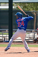 Chicago Cubs outfielder Luis Ubiera (24) at bat during an Extended Spring Training game against the Los Angeles Angels at Sloan Park on April 14, 2018 in Mesa, Arizona. (Zachary Lucy/Four Seam Images)