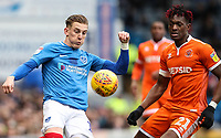 Portsmouth's Ronan Curtis competing with Blackpool's Armand Gnanduillet <br /> <br /> Photographer Andrew Kearns/CameraSport<br /> <br /> The EFL Sky Bet League One - Portsmouth v Blackpool - Saturday 12th January 2019 - Fratton Park - Portsmouth<br /> <br /> World Copyright &copy; 2019 CameraSport. All rights reserved. 43 Linden Ave. Countesthorpe. Leicester. England. LE8 5PG - Tel: +44 (0) 116 277 4147 - admin@camerasport.com - www.camerasport.com