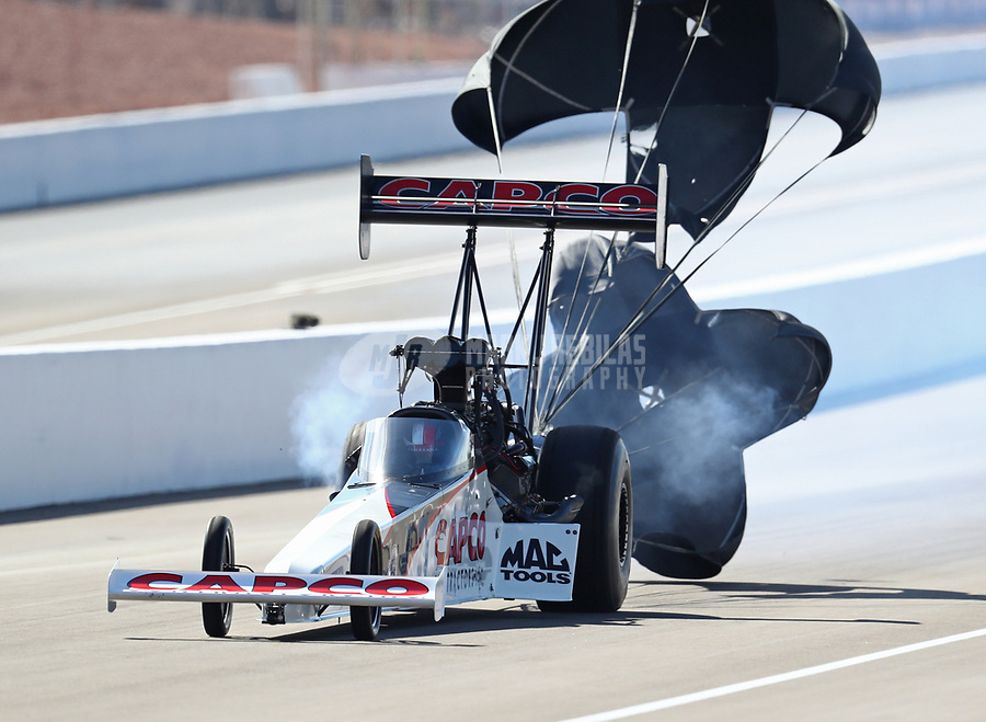 Oct 28, 2018; Las Vegas, NV, USA; NHRA top fuel driver Steve Torrence during the Toyota Nationals at The Strip at Las Vegas Motor Speedway. Mandatory Credit: Mark J. Rebilas-USA TODAY Sports