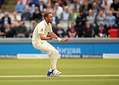 7th September 2017, Lords Cricket Ground, London, England; International Test Match Series, Third Test, Day 1; England versus West Indies; England Bowler Stuart Broad reacts as he narrowly misses taking a wicket