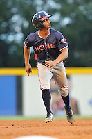 Right fielder Ray-Patrick Didder (11) of the Rome Braves runs toward third in a game against the Greenville Drive on Wednesday, August 31, 2016, at Fluor Field at the West End in Greenville, South Carolina. Rome won, 9-1. (Tom Priddy/Four Seam Images)