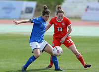20180302 - LARNACA , CYPRUS : Italian Valentina Bergamaschi  pictured in a duel with Welsh Rachel Rowe (r) during a women's soccer game between Italy and Wales , on friday 2 March 2018 at GSZ Stadium in Larnaca , Cyprus . This is the second game in group A for Italy and Wales during the Cyprus Womens Cup , a prestigious women soccer tournament as a preparation on the World Cup 2019 qualification duels. PHOTO SPORTPIX.BE | DAVID CATRY