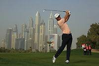 Lucas Bjerregaard (DEN) in action on the 13th hole during the second round of the Omega Dubai Desert Classic, Emirates Golf Club, Dubai, UAE. 25/01/2019<br /> Picture: Golffile | Phil Inglis<br /> <br /> <br /> All photo usage must carry mandatory copyright credit (© Golffile | Phil Inglis)