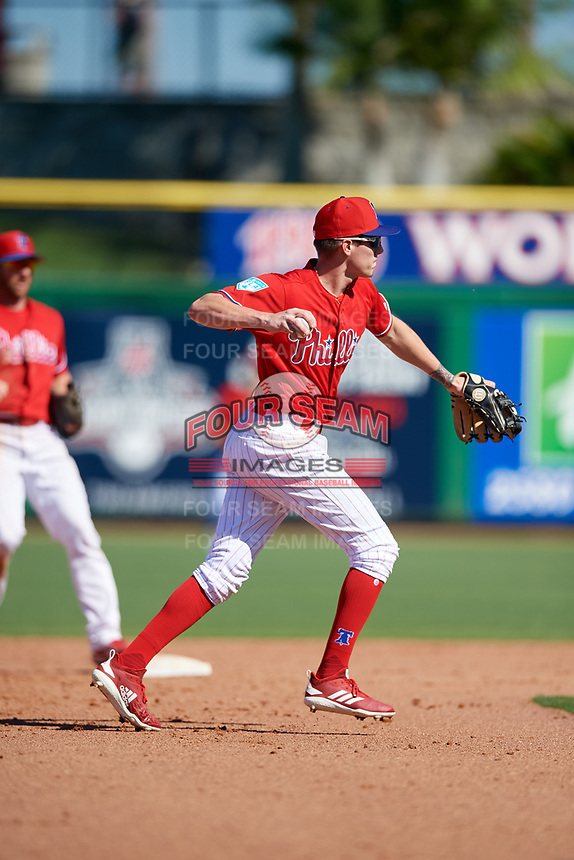 Philadelphia Phillies shortstop Nick Maton (88) throws to first base during a Grapefruit League Spring Training game against the Baltimore Orioles on February 28, 2019 at Spectrum Field in Clearwater, Florida.  Orioles tied the Phillies 5-5.  (Mike Janes/Four Seam Images)