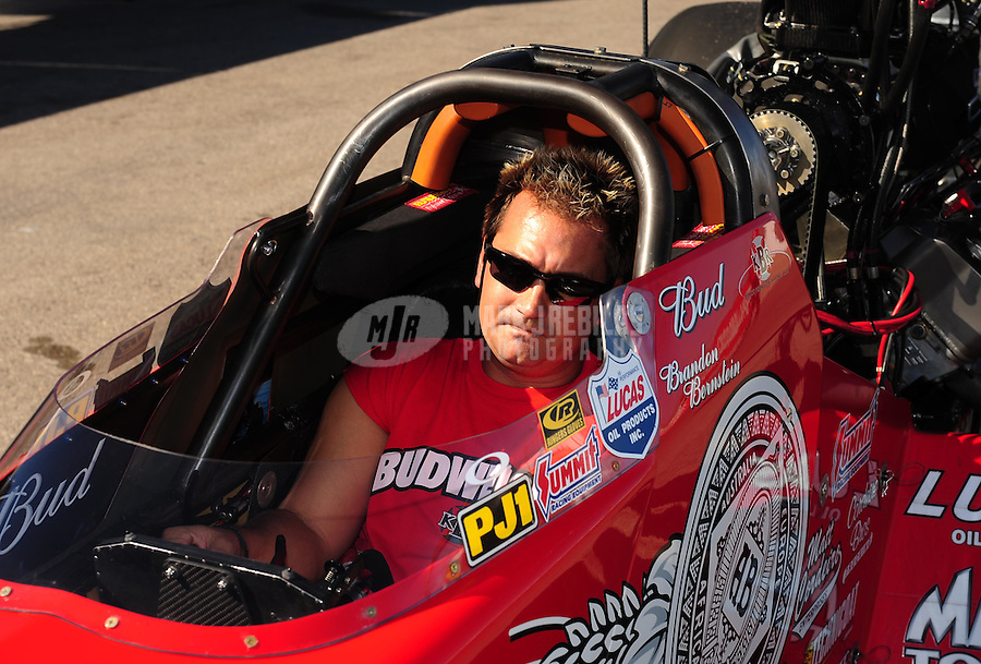 Apr. 5, 2009; Las Vegas, NV, USA: NHRA top fuel dragster driver Brandon Bernstein after losing in the final round during eliminations of the Summitracing.com Nationals at The Strip in Las Vegas. Mandatory Credit: Mark J. Rebilas-
