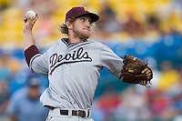 Arizona State's Jordan Swagerty in Game 7 of the NCAA Division One Men's College World Series on Monday June 22nd, 2010 at Johnny Rosenblatt Stadium in Omaha, Nebraska.  (Photo by Andrew Woolley / Four Seam Images)