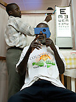 After the bandages are taken off the patient is given an eye exam.
