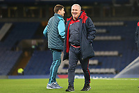 Swansea City assistant coach Nigel Gibbs laughs with Angel Rangel as they arrive at Stamford Bridge prior to kick off of the Premier League match between Chelsea and Swansea City at Stamford Bridge, London, England, UK. Wednesday 29 November 2017
