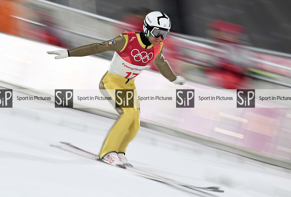 Sebastian Colloredo (ITA). Mens normal hill individual. Qualification. Ski jumping. Alpensia ski jump centre. Pyeongchang2018 winter Olympics. Alpensia. Pyeongchang. Republic of Korea. 08/02/2018. ~ MANDATORY CREDIT Garry Bowden/SIPPA - NO UNAUTHORISED USE - +44 7837 394578