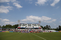 Cary, North Carolina  - Saturday April 29, 2017: The starters and match officials during the playing of the National Anthem prior to regular season National Women's Soccer League (NWSL) match between the North Carolina Courage and the Orlando Pride at Sahlen's Stadium at WakeMed Soccer Park.