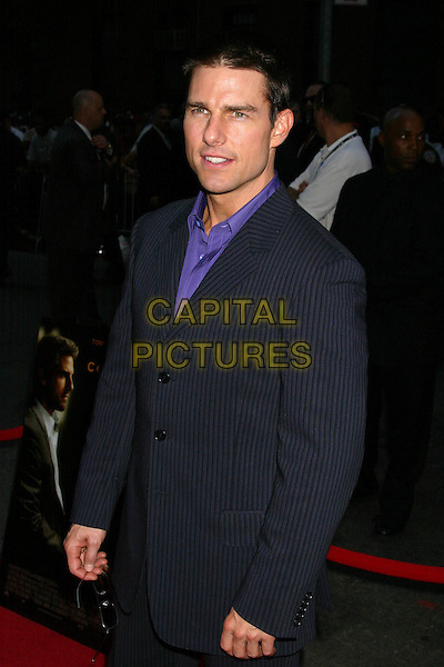 "TOM CRUISE.""Collateral"" Premiere - New York - Arrivals.New York City, New York .August 4, 2004.half length, pinstripe suit jacket.www.capitalpictures.com.sales@capitalpictures.com.©Capital Pictures"