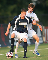 04 September 2009: Josh Thiermann #17 of the University of Notre Dame shields the ball from Justin Lichtfuss #4 of Wake Forest University during an Adidas Soccer Classic match at the University of Indiana in Bloomington, In. The game ended in a 1-1 tie..