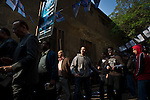 Remi OCHLIK/IP3 -  Egyptians wait outside  a polling station to vote in the country's parliamentary election in  Cairo, Egypt, Monday, Nov. 28, 2011. Shaking off years of political apathy, Egyptians on Monday began voting in their nation's first parliamentary elections since Hosni Mubarak's ouster, a giant step toward what many in the country hope will be a democratic Egypt after decades of dictatorship.