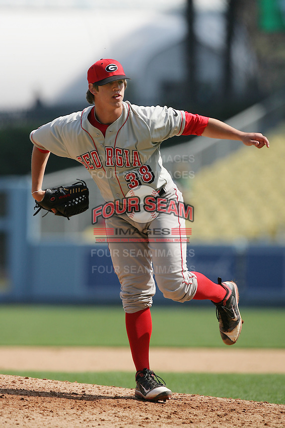 Patrick Boling #38 of the Georgia Bulldogs pitches against the St. Mary's Gaels at Dodger Stadium in Los Angeles,California on March 13, 2011. Photo by Larry Goren/Four Seam Images