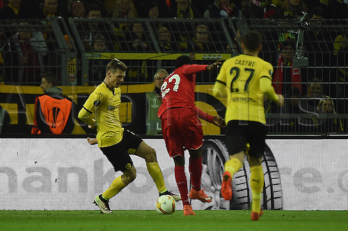 07.04.2016. Dortmund, Germany. Europa League quarterfinal. Borussia Dortmund versus Liverpool FC at the Signal Iduna Park Dortmund.  Divock Origi (FC Liverpool) scores for 0:1