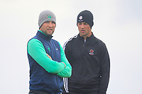 Jonathan Yates from Ireland and Mitch Waite from England on the 8th tee during Round 3 Foursomes of the Men's Home Internationals 2018 at Conwy Golf Club, Conwy, Wales on Friday 14th September 2018.<br /> Picture: Thos Caffrey / Golffile<br /> <br /> All photo usage must carry mandatory copyright credit (&copy; Golffile | Thos Caffrey)