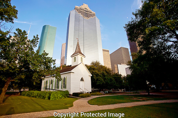 Historic Sam Houston Park in Downtown Houston, Texas.