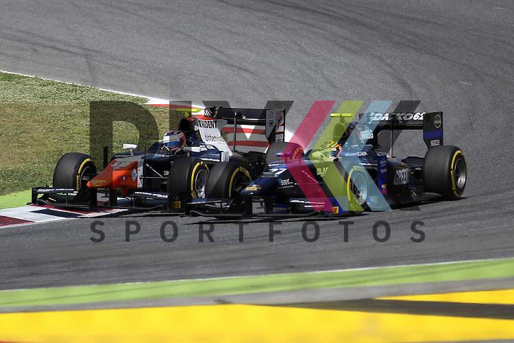 Barcelona, 08.05.15, Motorsport, GP2 Series Barcelona 2015 : Rene Binder (Trident, #12) &uuml;berholt Zoel Amberg (Lazarus, #27)<br /> <br /> Foto &copy; P-I-X.org *** Foto ist honorarpflichtig! *** Auf Anfrage in hoeherer Qualitaet/Aufloesung. Belegexemplar erbeten. Veroeffentlichung ausschliesslich fuer journalistisch-publizistische Zwecke. For editorial use only.
