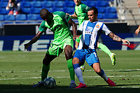 5th July 2020; RCDE Stadium, Barcelona, Catalonia, Spain; La Liga Football, Real Club Deportiu Espanyol de Barcelona versus Leganes; Amadou holds off the challenge from Raúl de Tomás of Espanyo
