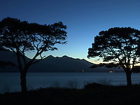 16-3-2014: A sunset view over Lough Lein Killarney at the weekend with Carrauntoohill Mountain silhouetted against the night sky.<br /> Picture by Don MacMonagle