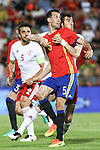 Spain's Sergio Busquets and Spain's Georgia's Lobzhanize during the up match between Spain and Georgia before the Uefa Euro 2016.  Jun 07,2016. (ALTERPHOTOS/Rodrigo Jimenez)