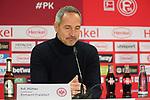 11.03.2019, Merkur Spielarena, Duesseldorf , GER, 1. FBL,  Fortuna Duesseldorf vs. Eintracht Frankfurt,<br />  <br /> DFL regulations prohibit any use of photographs as image sequences and/or quasi-video<br /> <br /> im Bild / picture shows: <br /> Pressekonferenz (PK) nach dem Spiel,  Adi H&uuml;tter / Huetter Trainer / Headcoach (Eintracht Frankfurt),  <br /> <br /> Foto &copy; nordphoto / Meuter