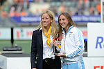 The Hague, Netherlands, June 14: Florencia Habif #16 of Argentina receives the prize for the Women´s best junior player of the tournament on June 14, 2014 during the World Cup 2014 at Kyocera Stadium in The Hague, Netherlands.  (Photo by Dirk Markgraf / www.265-images.com) *** Local caption ***
