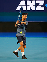 3rd January 2020; RAC Arena, Perth, Western Australia; ATP Cup Australia, Perth, Day 1, Russia versus Italy; Fabio Fognini of Italy plays a backhand shot from the baseline against Daniel Medvedev of Russia - Editorial Use