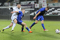 Pictured: Tom Price of Swansea (L). Tuesday 01 May 2018<br /> Re: Swansea U19 v Cardiff U19 FAW Youth Cup Final at the Liberty Stadium, Swansea, Wales, UK