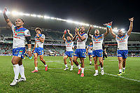 The Warriors celebrate their victory. Sydney Roosters v Vodafone Warriors, NRL Rugby League. Allianz Stadium, Sydney, Australia. 31st March 2018. Copyright Photo: David Neilson / www.photosport.nz