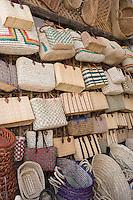 Afrique/Afrique du Nord/Maroc /Casablanca: le marché central boulevard Mohammed V détail étal de paniers et cabats
