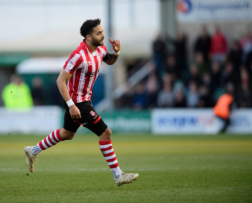Lincoln City's Bruno Andrade celebrates scoring his side's second goal<br /> <br /> Photographer Chris Vaughan/CameraSport<br /> <br /> The EFL Sky Bet League Two - Lincoln City v Stevenage - Saturday 16th February 2019 - Sincil Bank - Lincoln<br /> <br /> World Copyright © 2019 CameraSport. All rights reserved. 43 Linden Ave. Countesthorpe. Leicester. England. LE8 5PG - Tel: +44 (0) 116 277 4147 - admin@camerasport.com - www.camerasport.com