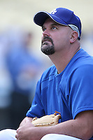 David Wells of the Los Angeles Dodgers during batting practice before a 2007 MLB season game at Dodger Stadium in Los Angeles, California. (Larry Goren/Four Seam Images)