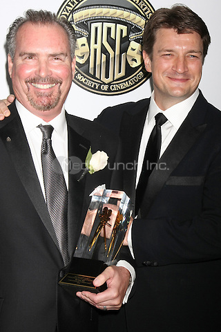 CENTURY CITY, CA - FEBRUARY 15: Bill Roe, Nathan Fillion at the 2015 American Society of Cinematographers Awards at Century Plaza Hotel in Century City, California on February 15, 2015. Credit: David Edwards/DailyCeleb/MediaPunch